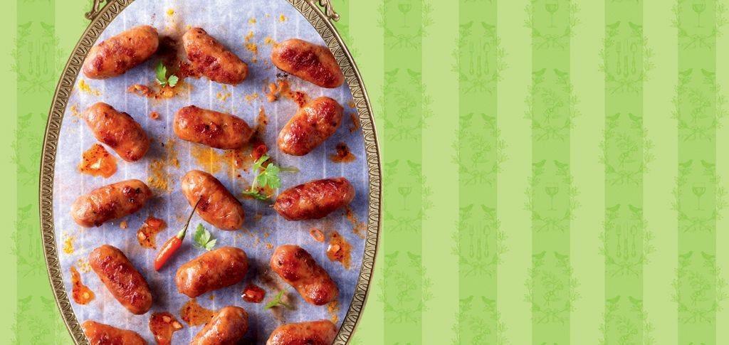 Espelette chili pepper cocktail sausages