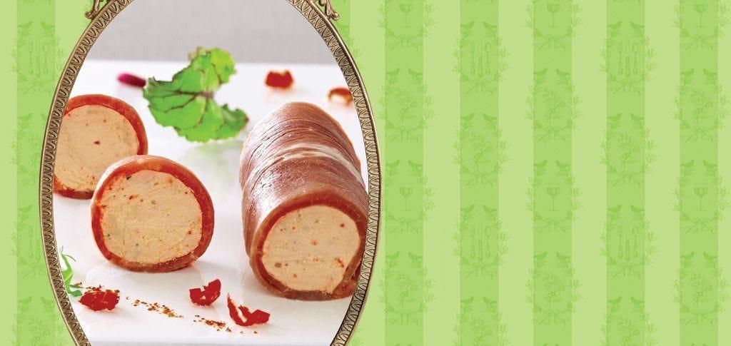 Bayonne ham rolled with duck foie gras