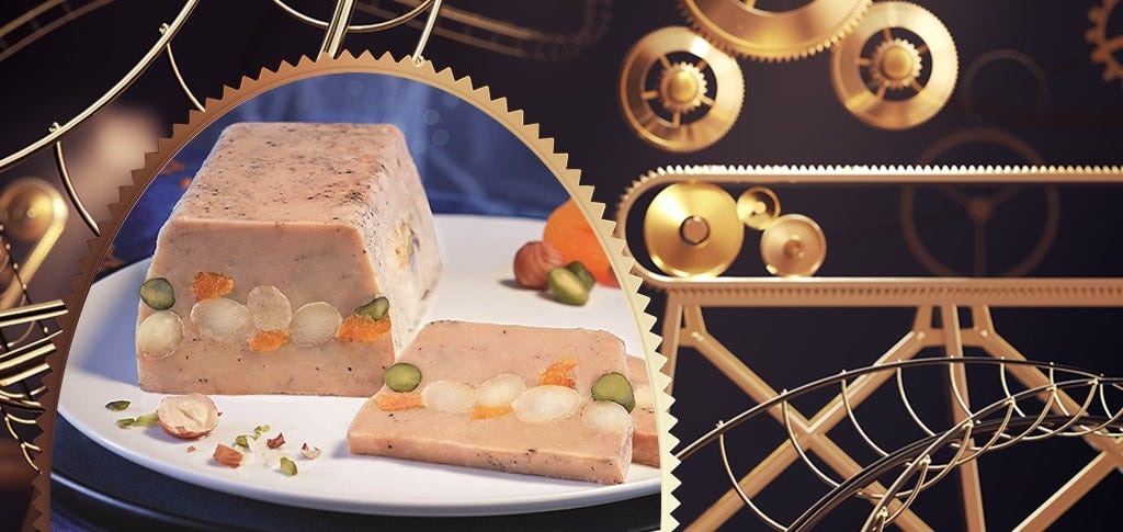 Pressed, semi cooked, crunchy, dried fruit and nut and centred, foie gras laced with matured Armagnac