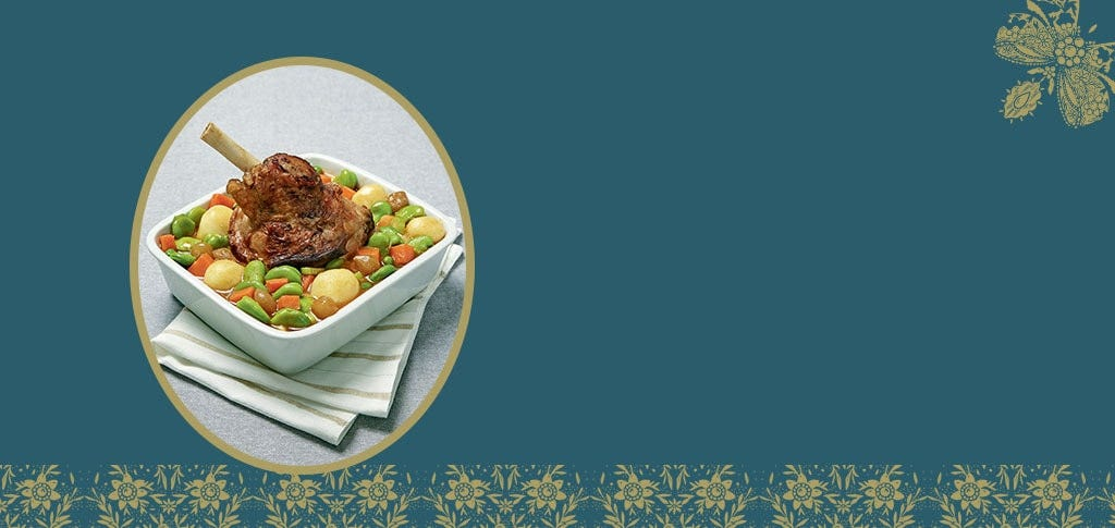 Lamb shank with its assortment of Navarin style vegetables