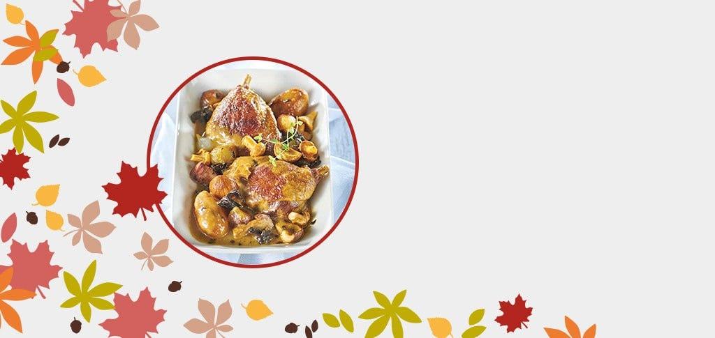 Le mitonné de cuisses de canard du Sud-Ouest sauce forestière au jus de truffe